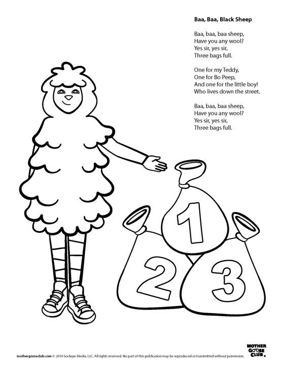 Baa Baa Black Sheep Free Colouring Pages Baa Baa Black Sheep Coloring Page