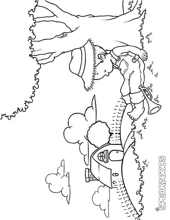 Little boy coloring pages the image kid for Little boy blue coloring page