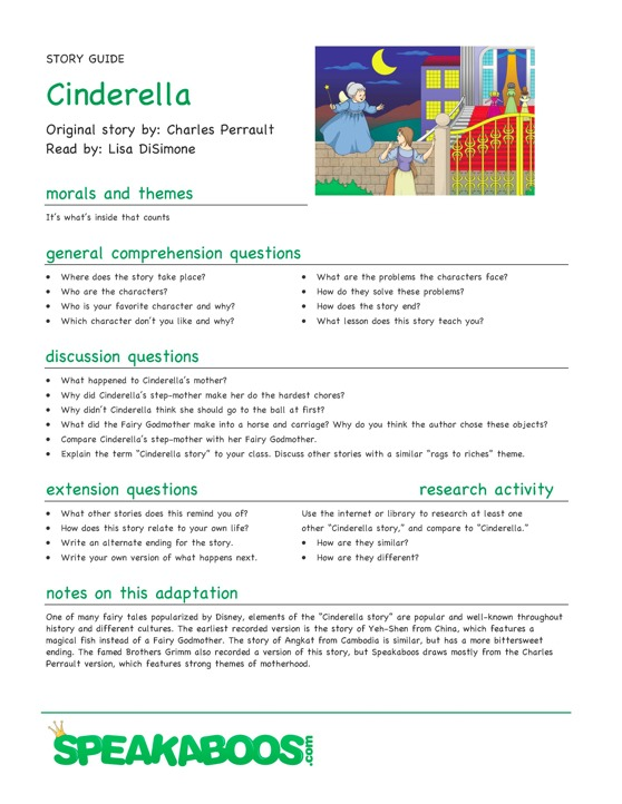 Lesson Plans: Cinderella : Speakaboos Worksheets