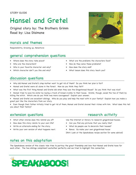 Lesson Plans: Hansel and Gretel | Speakaboos Worksheets