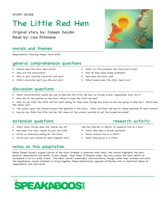 Lesson Plans: The Little Red Hen | Speakaboos Worksheets
