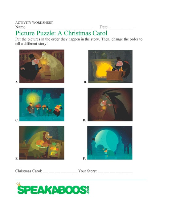 Picture Puzzle A Christmas Carol Speakaboos Worksheets