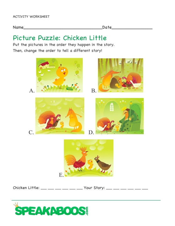 Picture Puzzle: Chicken Little | Speakaboos Worksheets
