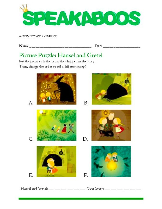 Picture Puzzle: Hansel and Gretel   Speakaboos Worksheets