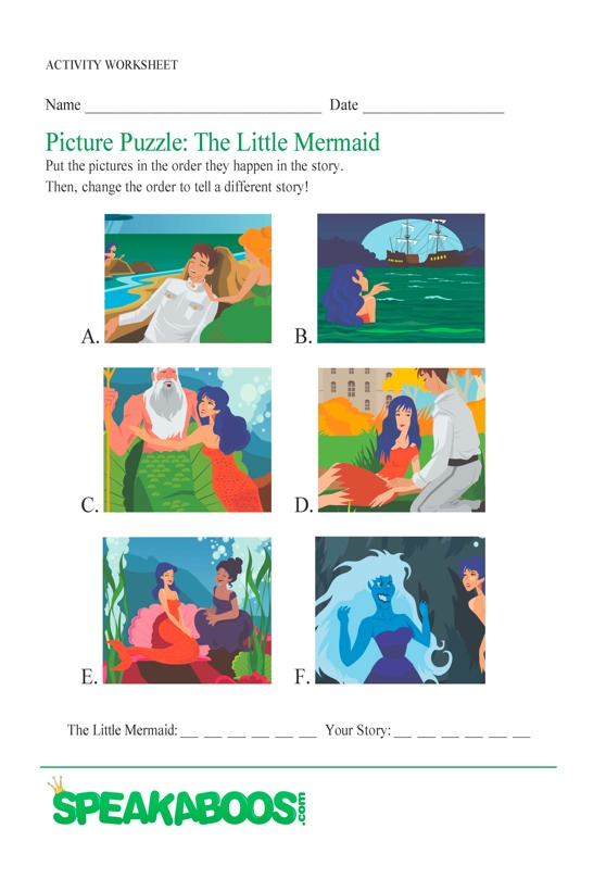 Picture Puzzle: The Little Mermaid | Speakaboos Worksheets