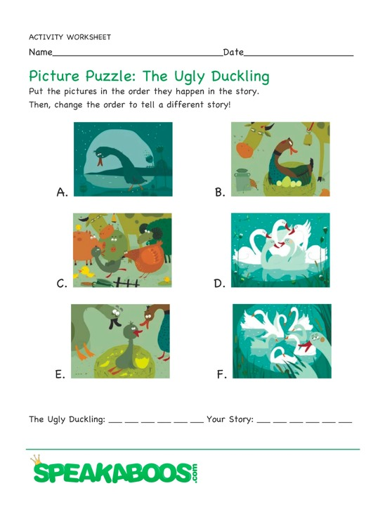 Picture Puzzle: The Ugly Duckling : Speakaboos Worksheets