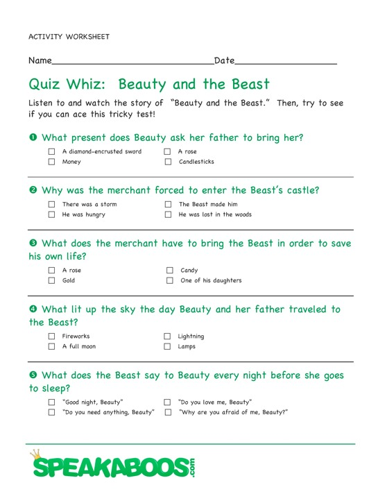 Student Worksheets For Fairy Tales As Well As As Well As | Free ...
