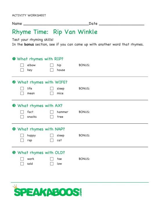 rhyme time rip van winkle speakaboos worksheets. Black Bedroom Furniture Sets. Home Design Ideas