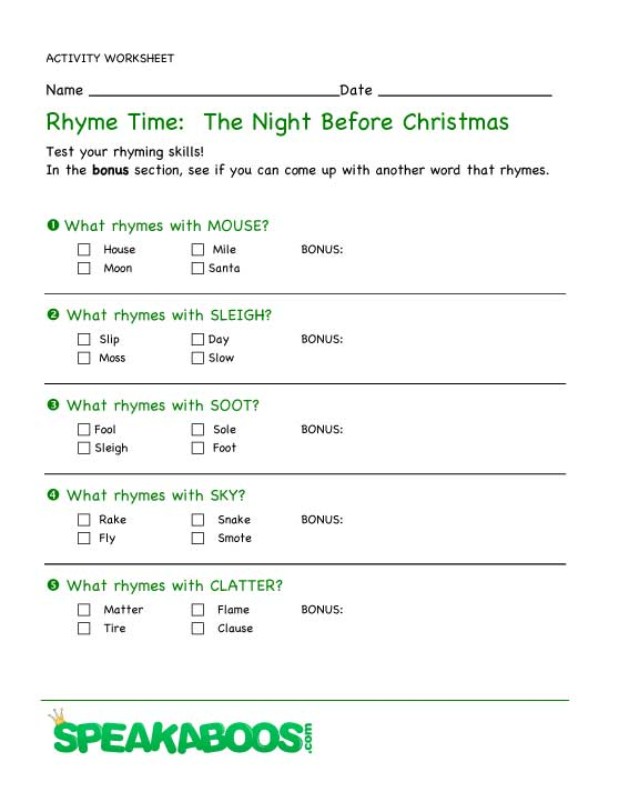 Rhyme Time: The Night Before Christmas | Speakaboos Worksheets