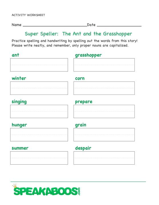 Super Speller: The Ant and the Grasshopper   Speakaboos Worksheets