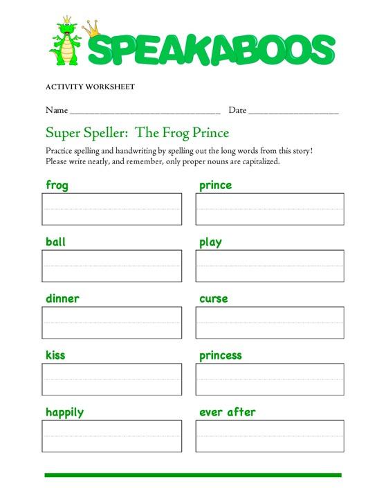 Super Speller: The Frog Prince : Speakaboos Worksheets