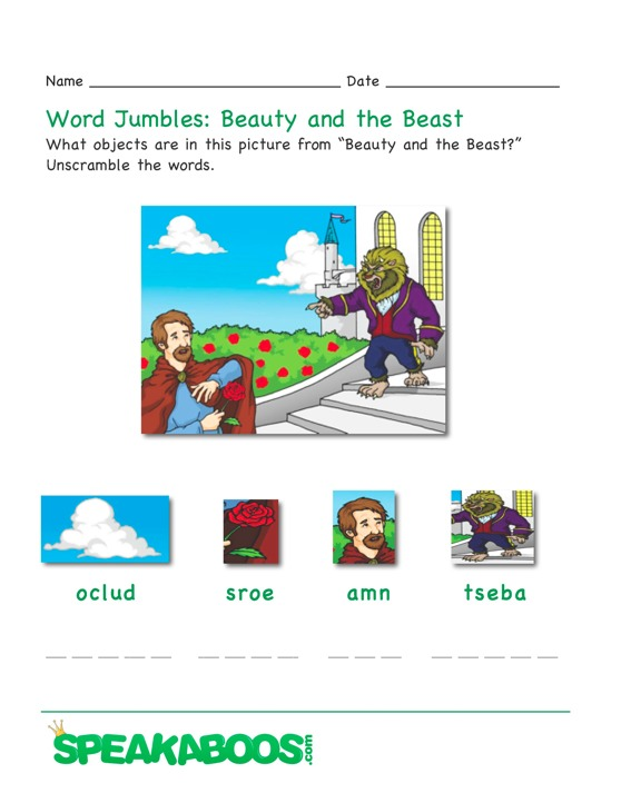 Word Jumble: Beauty and the Beast | Speakaboos Worksheets
