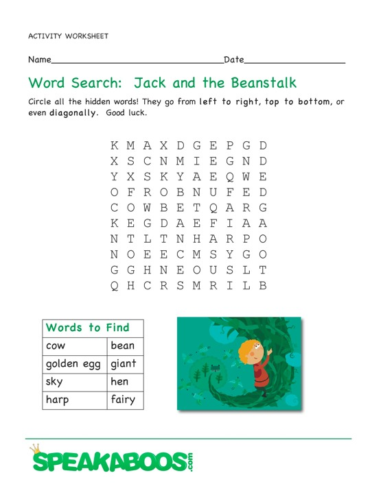 Word Search Jack And The Beanstalk Speakaboos Worksheets