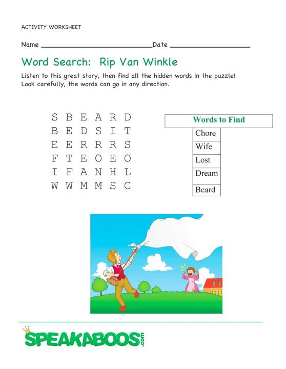 word search rip van winkle speakaboos worksheets. Black Bedroom Furniture Sets. Home Design Ideas