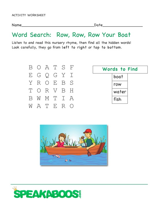 Word Search: Row Row Row Your Boat : Speakaboos Worksheets