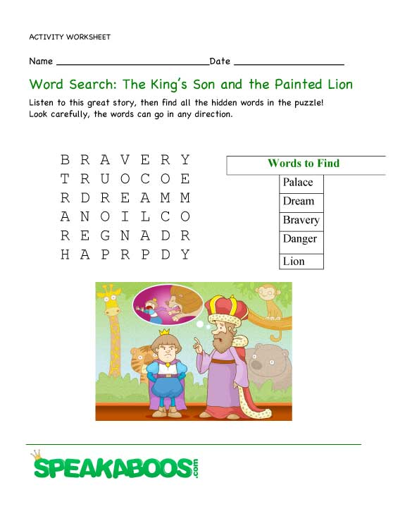 word search the king 39 s son and the painted lion speakaboos worksheets. Black Bedroom Furniture Sets. Home Design Ideas